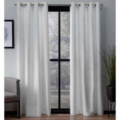 London 54 in. W x 108 in. L Woven Blackout Grommet Top Curtain Panel in Winter White (2 Panels)