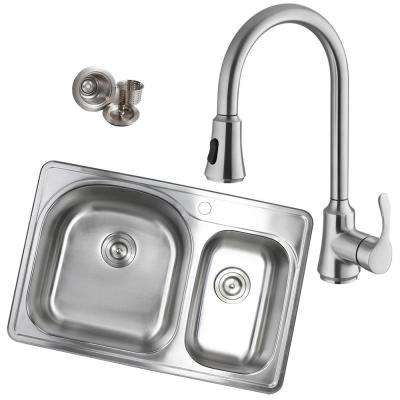 Topmount Drop-In 18-Gauge Stainless Steel 33 in. x 22 in. 1-Hole 70/30 Offset Double Bowl Kitchen Sink with Faucet
