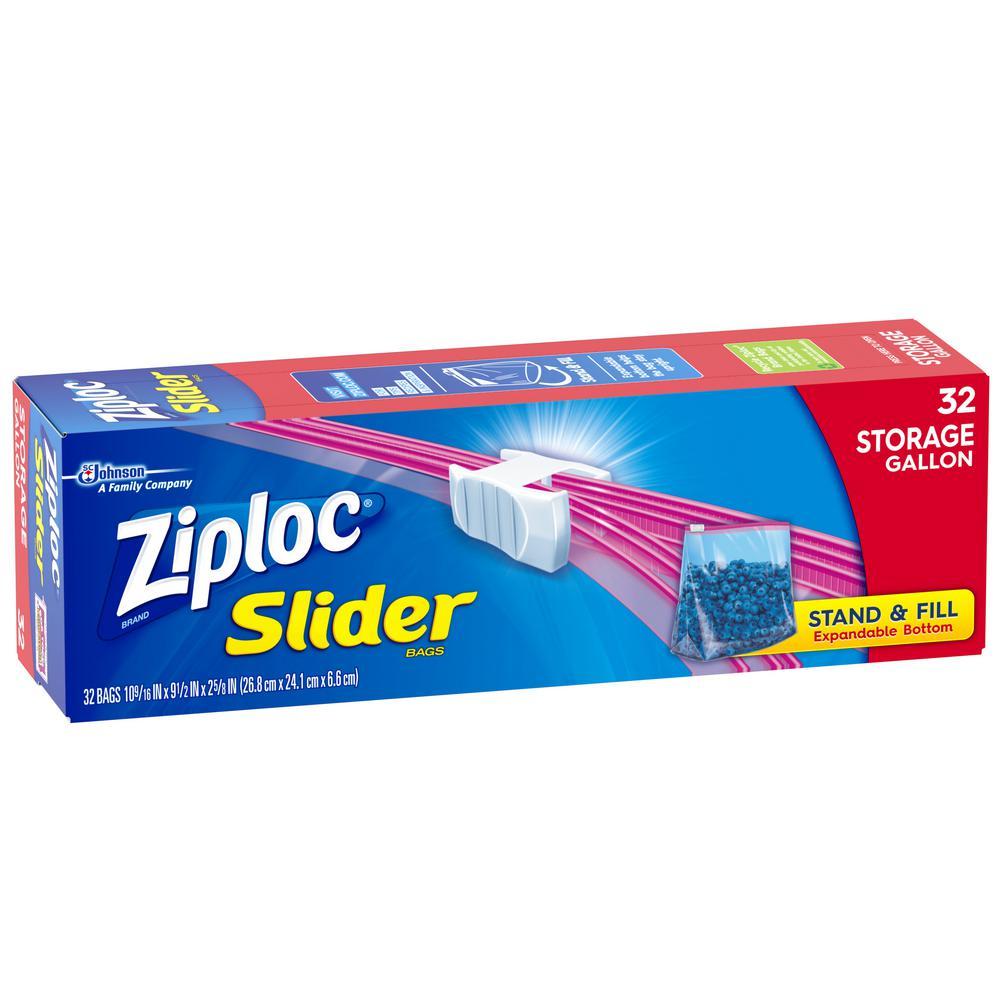 Plastic Slider Storage Bags Quart (32-Pieces)