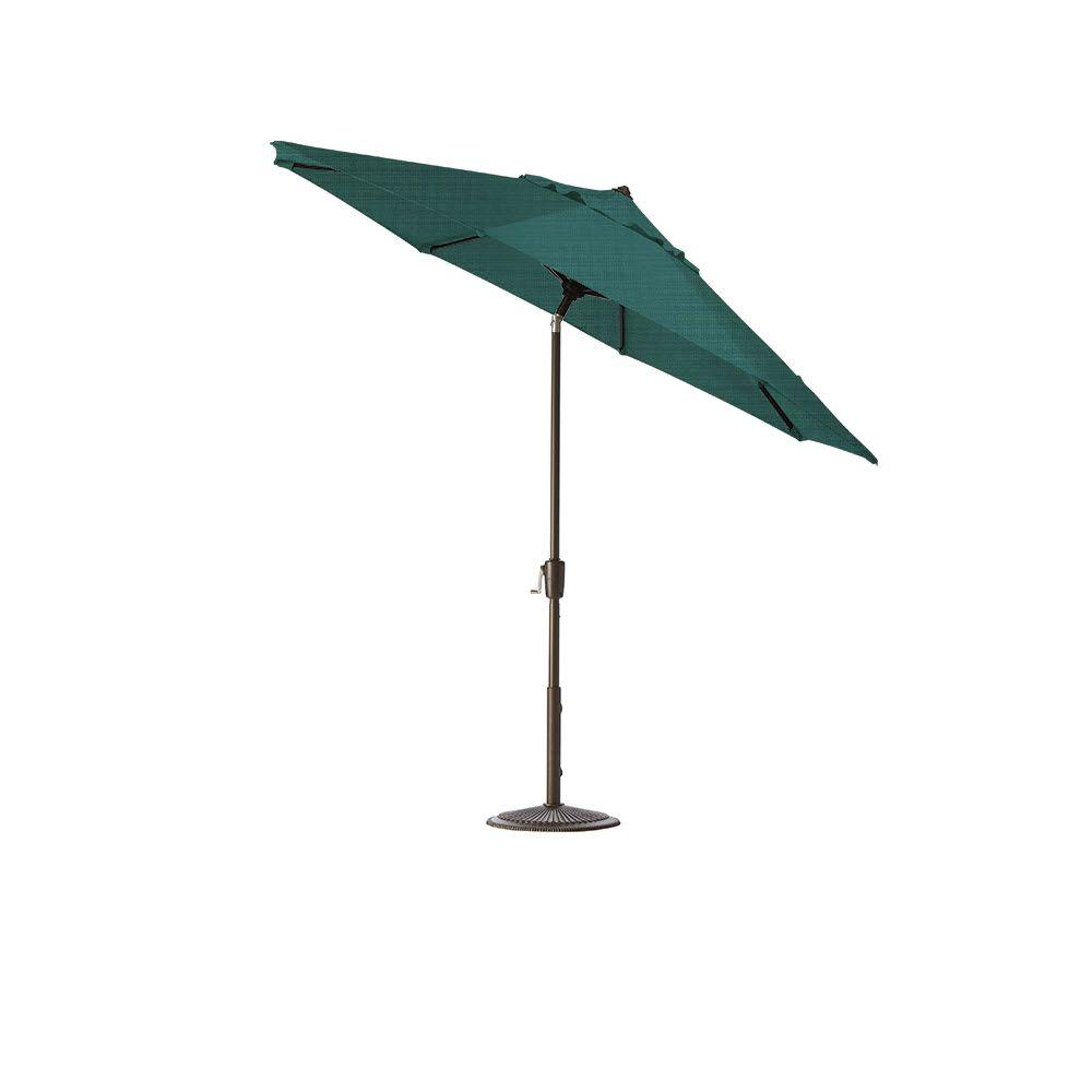 Home Decorators Collection 11 ft. Auto-Tilt Patio Umbrella in Sparkle Peacock Outdura with Bronze Frame