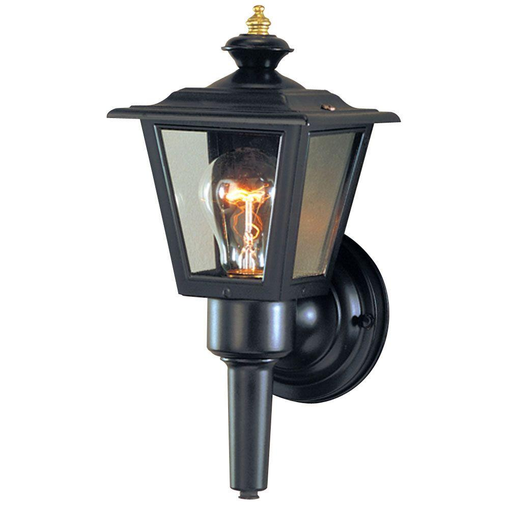 Westinghouse 1 Light Matte Black Aluminum Exterior Wall Lantern With Clear Glass Panels 6682000