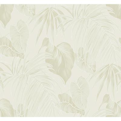 Dominica Metallic Gold and Metallic Silver Tropical Leaf Wallpaper