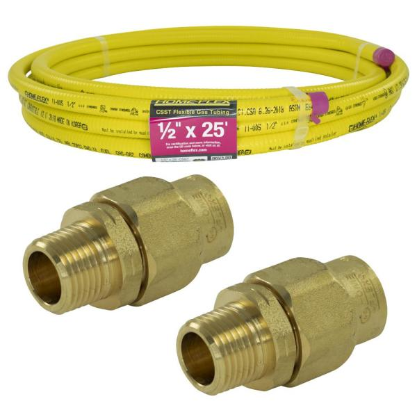 1/2 in. x 25 ft. CSST MPT Connection Kit (2) 1/2 in. MPT Male Adapter (1) CSST x CSST Pipe