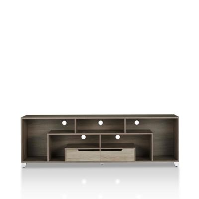 BEAU 71 in. Chestnut Brown MDF TV Stand with 2 Drawer Fits TVs Up to 70 in. with Cable Management