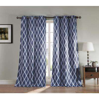 Geometric Indigo Polyester Blackout Grommet Window Curtain 38 in. W x 84 in. L (2-Pack)