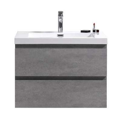 Bohemia 30 in. W Bath Vanity in Cement Gray with Reinforced Acrylic Vanity Top in White with White Basin