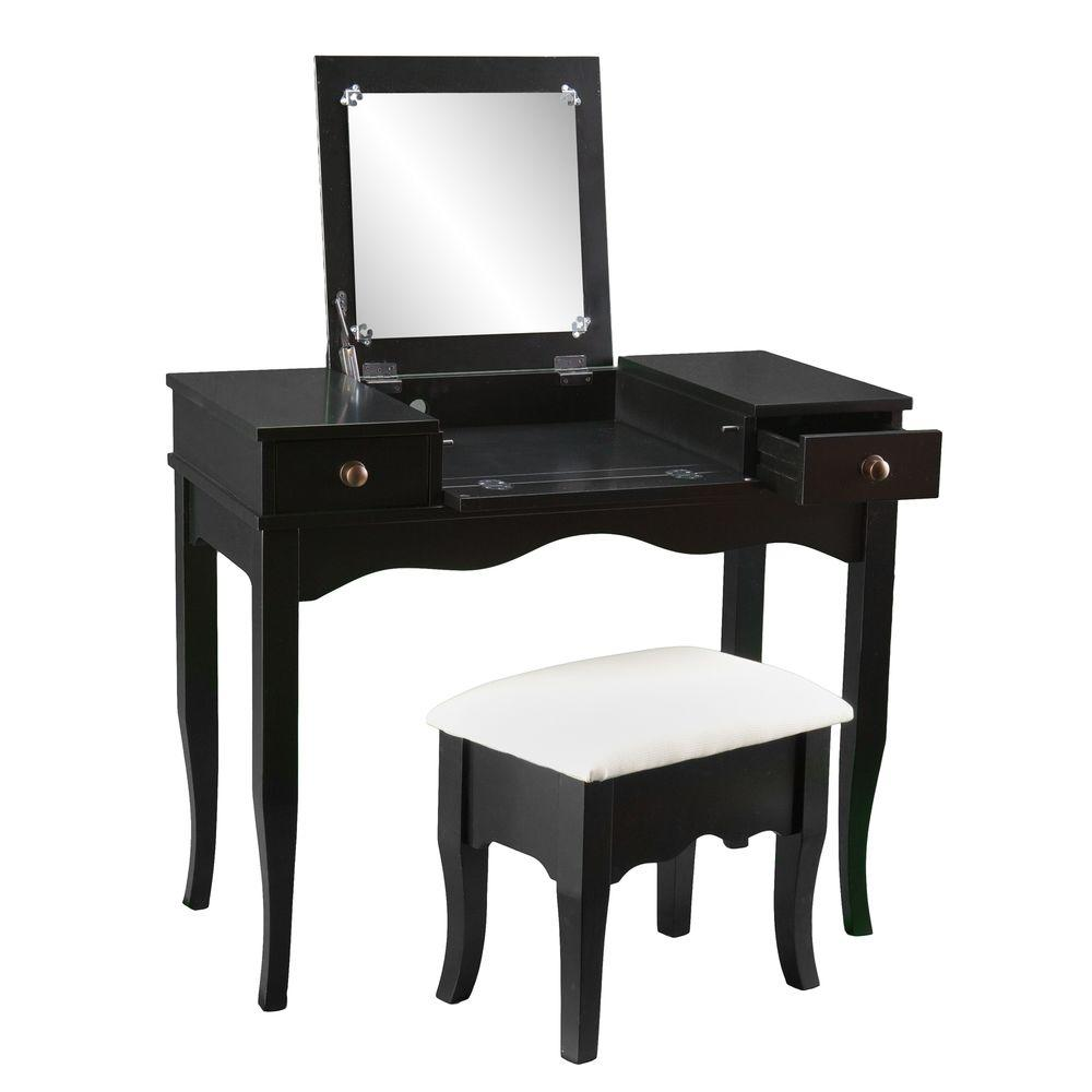 Southern Enterprises Calla 2-Piece Black Vanity Set, Blac...