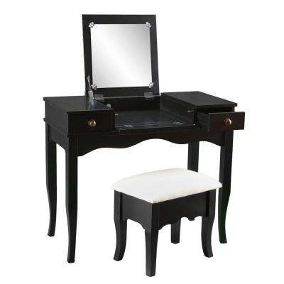 black makeup vanity with drawers. Calla 2 Piece Black Vanity Set  Drawers Makeup Vanities Bedroom Furniture The Home Depot