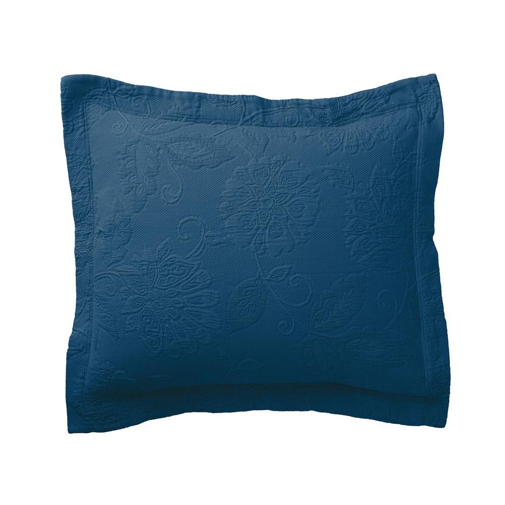Putnam Matelasse Midnight Blue Cotton Euro Sham