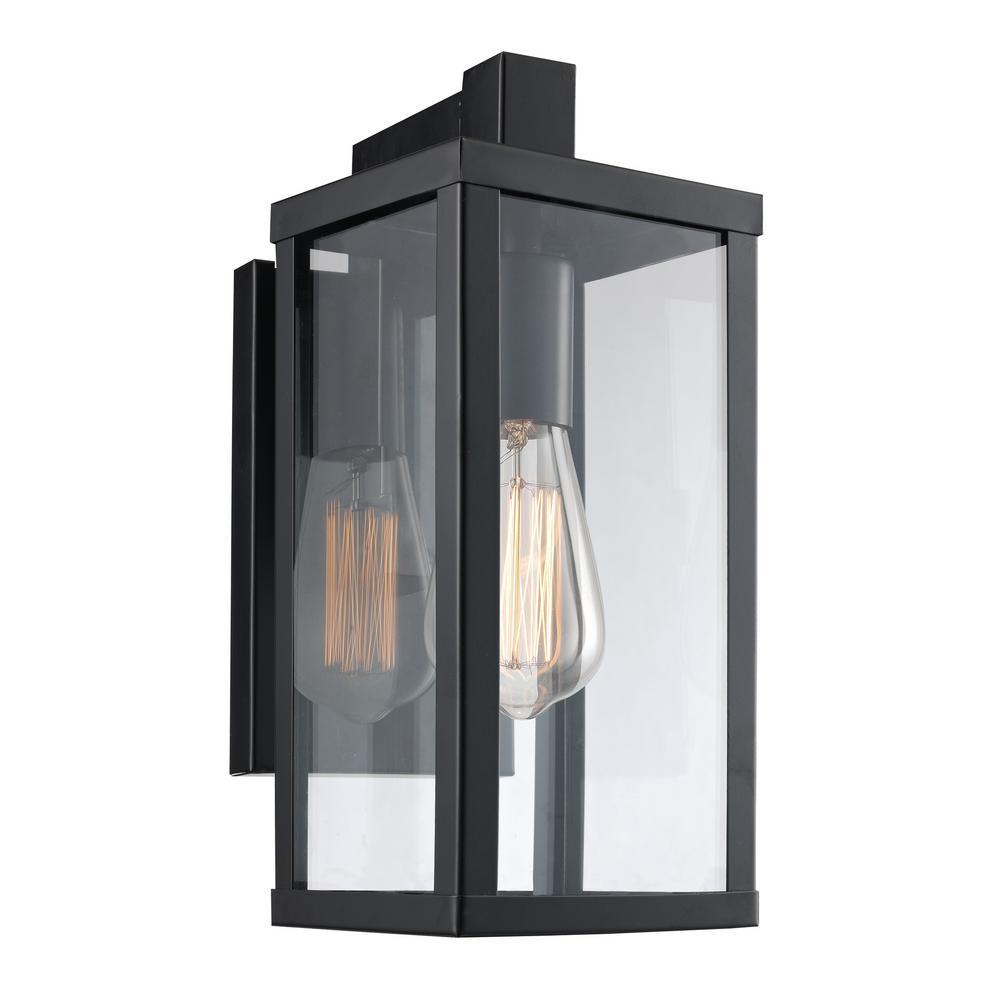 Bel Air Lighting Oxford 1-Light Black Outdoor Wall Mount Lantern