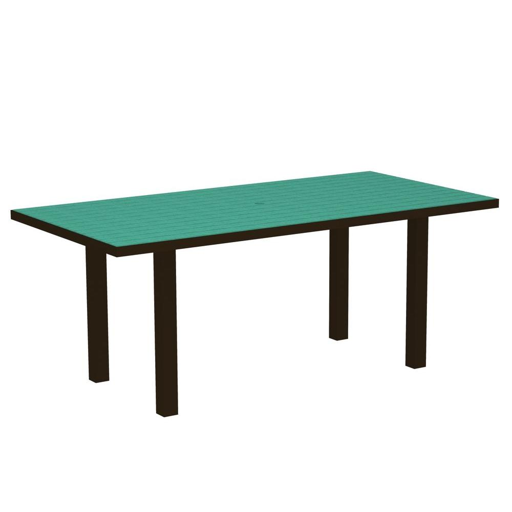 POLYWOOD Euro Textured Bronze 36 in. x 72 in. Patio Dining Table with Aruba Top