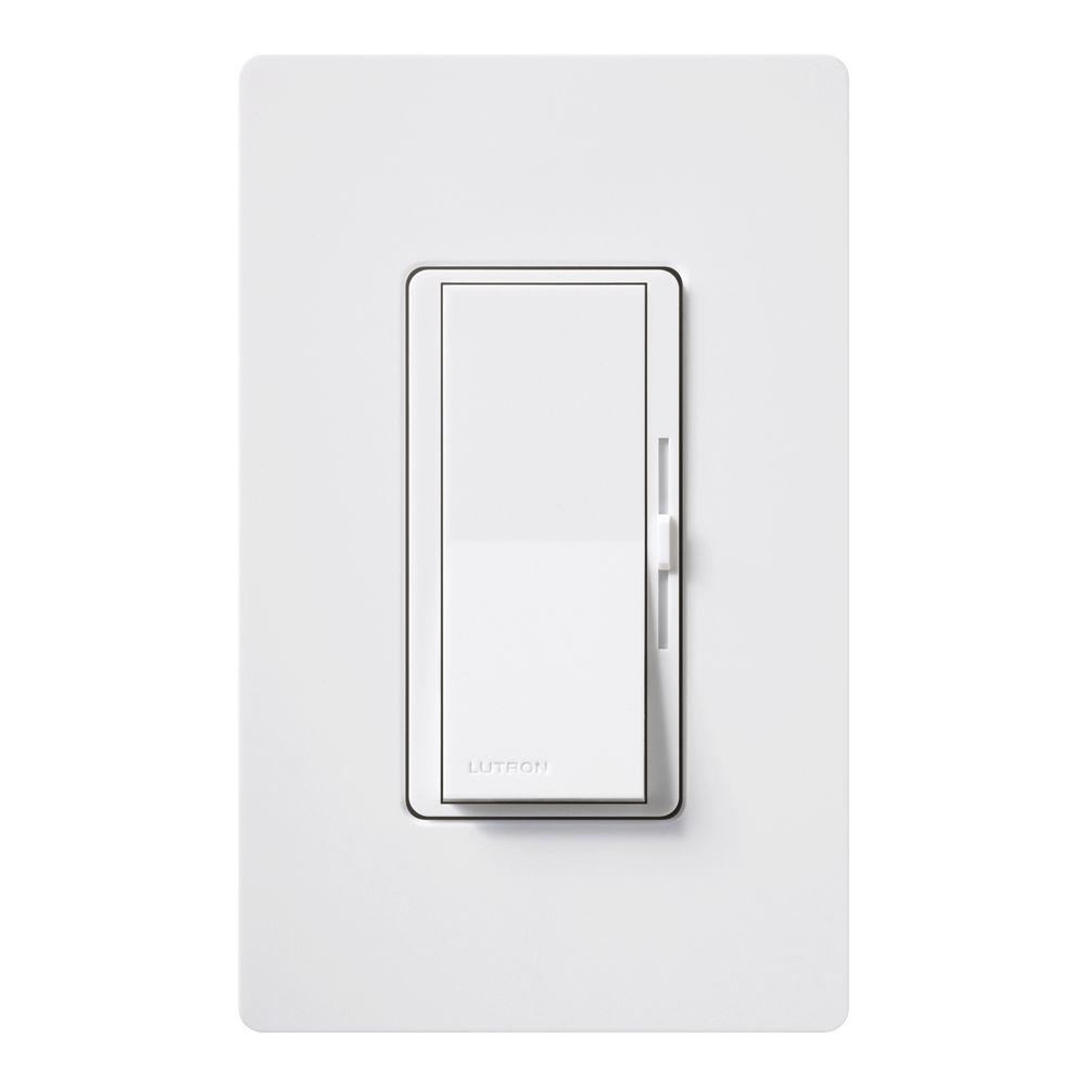 Lutron Diva C L Dimmer Switch for Dimmable LED, Halogen and Incandescent  Bulbs, Single-Pole or 3-Way, with Wallplate, White