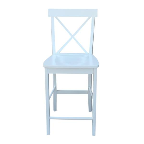 International Concepts 24 in. Alexa Pure White Counter Stool S08-6132