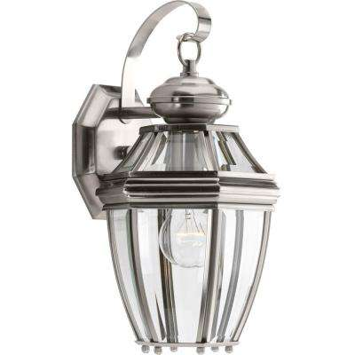 New Haven Collection 1-Light Small Outdoor Brushed Nickel Wall Lantern