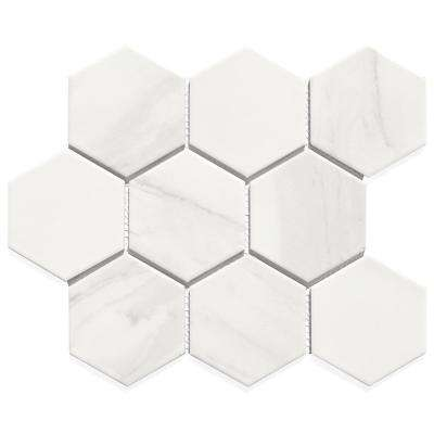 Monet Calacatta White Hexagon Mosaic 3 in. x 3 in. Porcelain Wall Tile (14.94 Sq.Ft./Case)