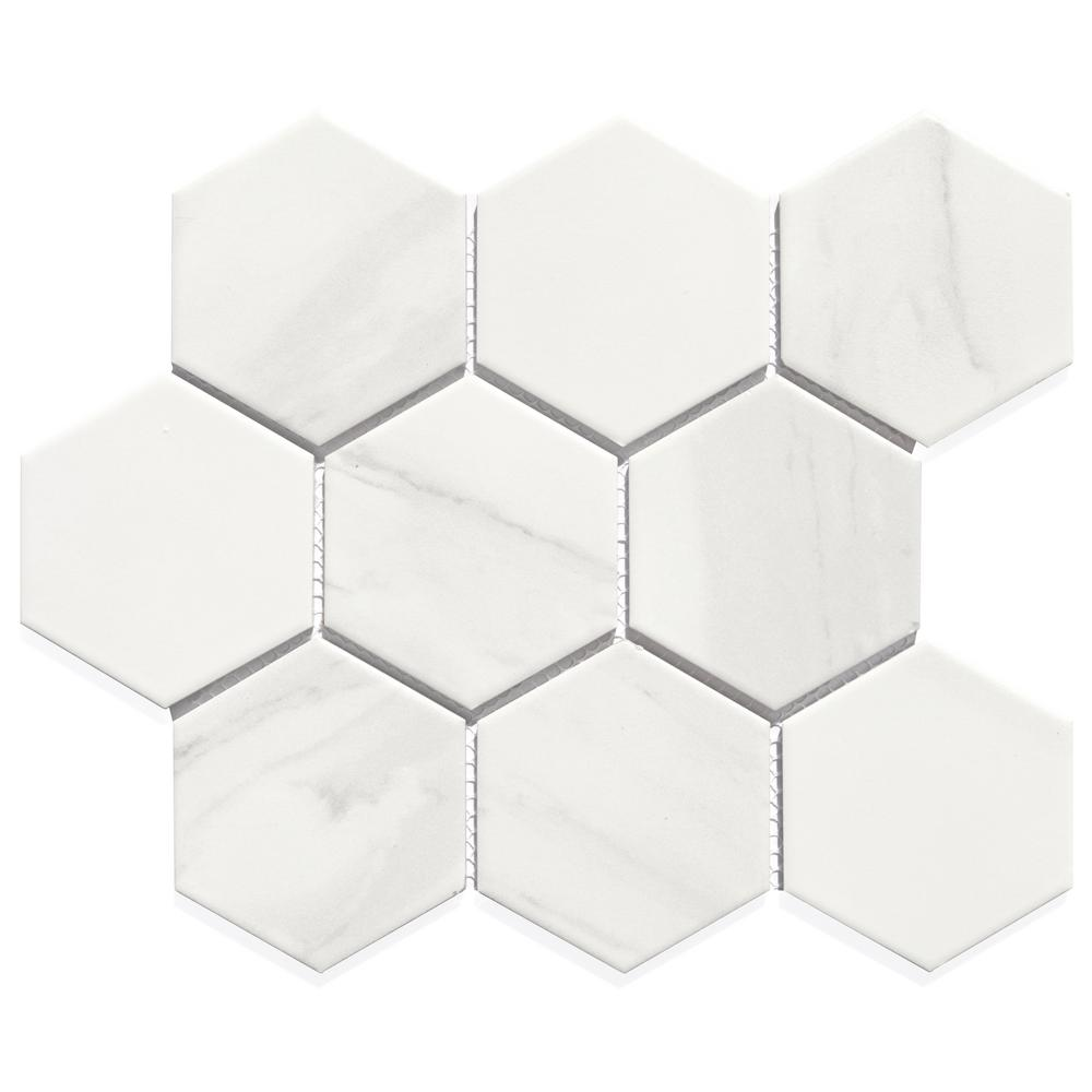 Abolos White Hexagon 12 In X 10 In X 6mm Glossy Mesh Mounted