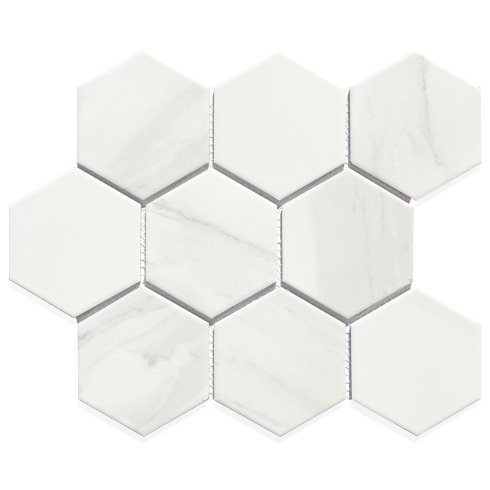 "Mosaic 3"" x 3"" Hexagon Calacatta White Porcelain Peel & Stick Decorative Bathroom Wall Tile Backsplash (18 Sq.Ft./Case)"