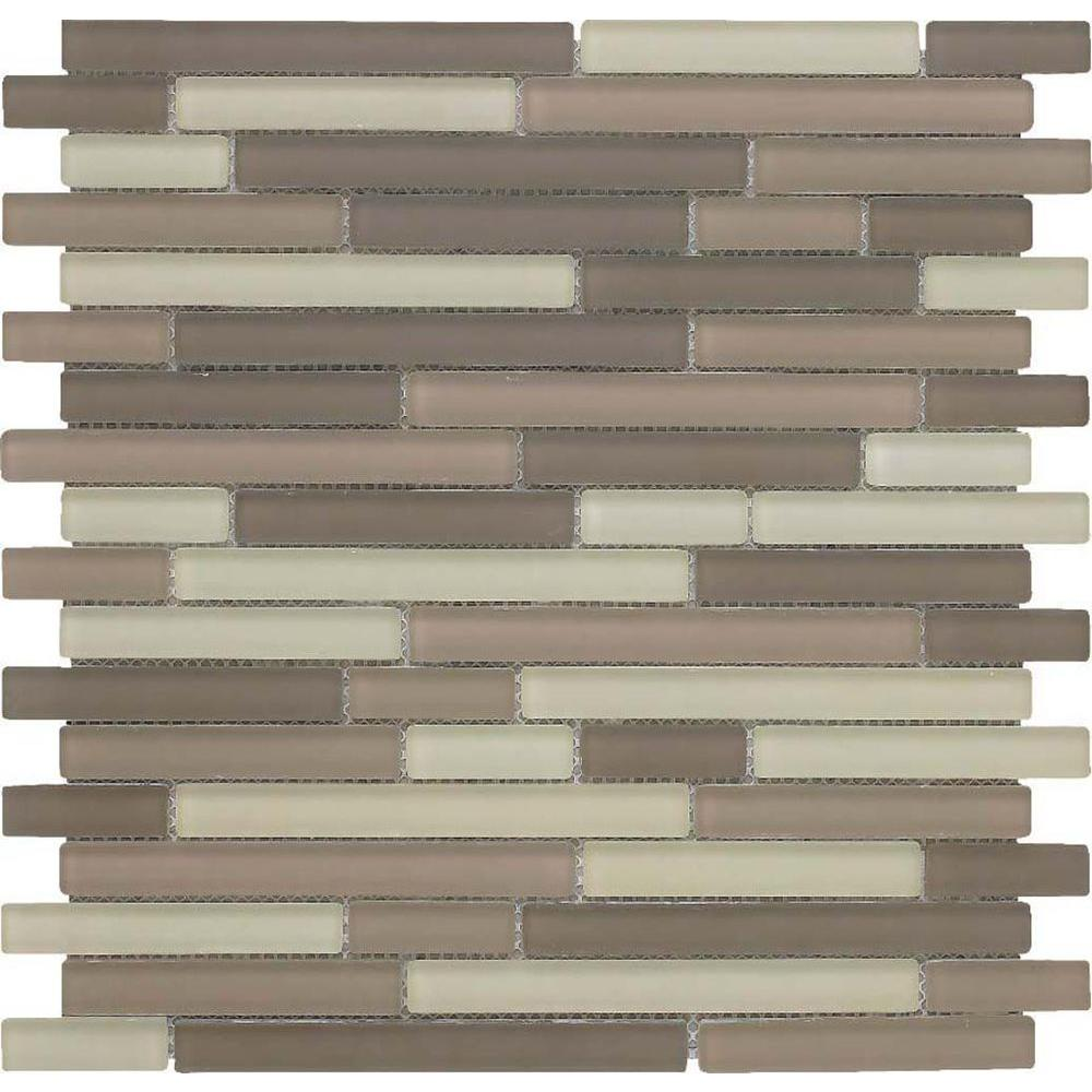 Epoch Architectural Surfaces Color Blends Arena Neblina Matte Strips Mosaic Glass Mesh Mounted Tile - 4 in. x 4 in. Tile Sample-DISCONTINUED