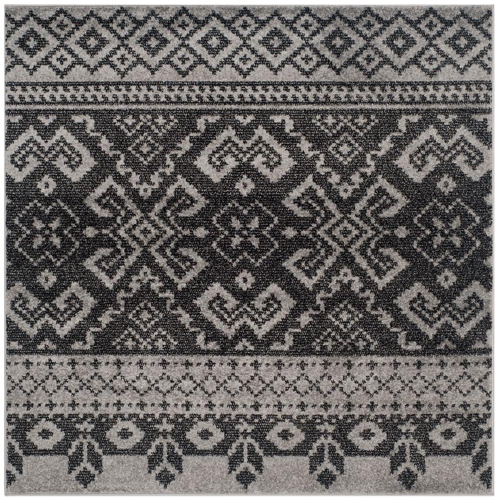 Adirondack Silver/Black 6 ft. x 6 ft. Square Area Rug