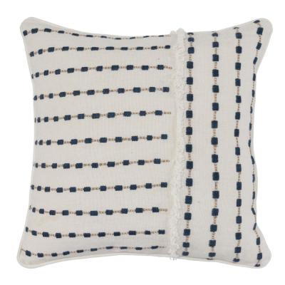 Katia Ivory/Navy 20 in. x 20 in. Linen Frayed Embroidery Decorative Pillow