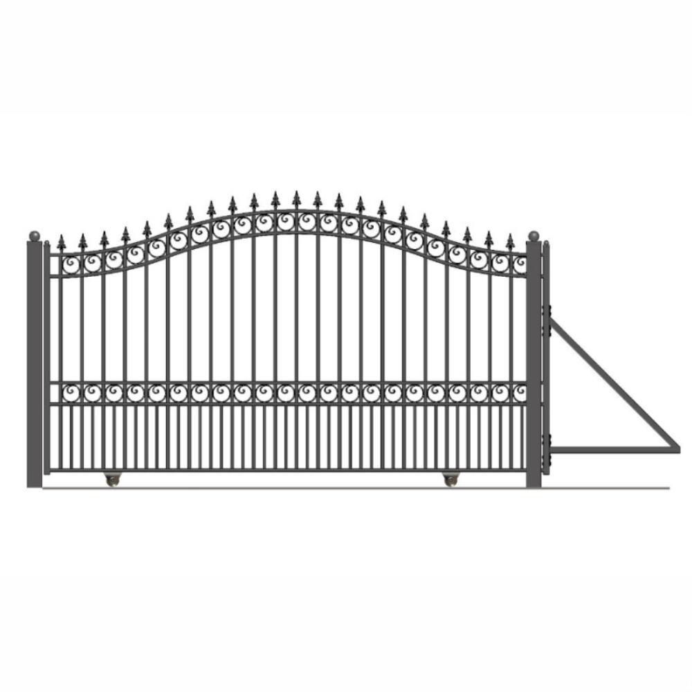 London Style 14 ft. x 6 ft. Black Steel Single Slide Driveway Fence Gate