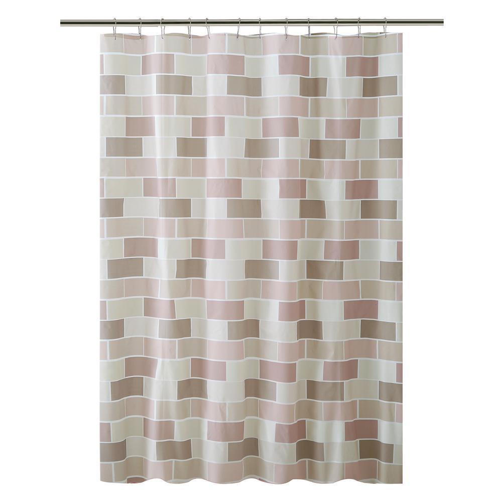 Bath Bliss PEVA 70 in. x 72 in.  Beige Tile Design  Shower Curtain