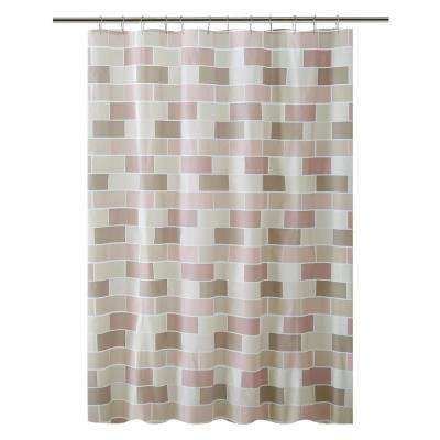 PEVA 70 in. x 72 in.  Beige Tile Design  Shower Curtain