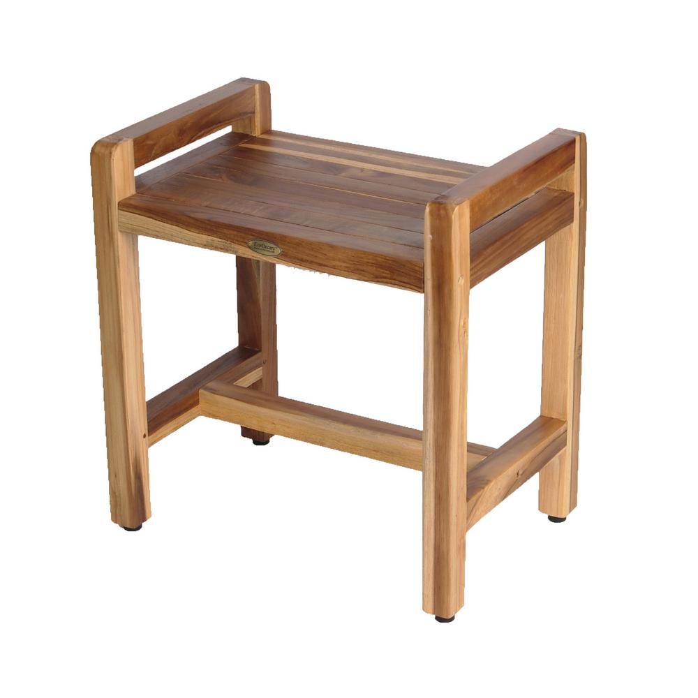 EcoDecors EarthyTeak Classic 18 in. Shower Bench with LiftAide Arms