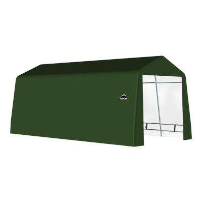 12 ft. x 20 ft. x 10 ft. Green Galvanized Steel and PVC Garage Without Floor