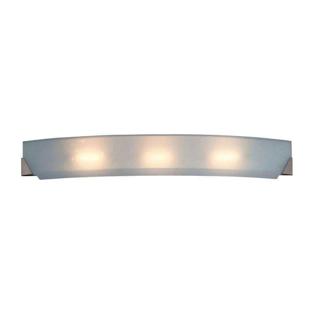 PLC Lighting 3-Light Polished Chrome Bath Vanity Light with Acid Frost Glass