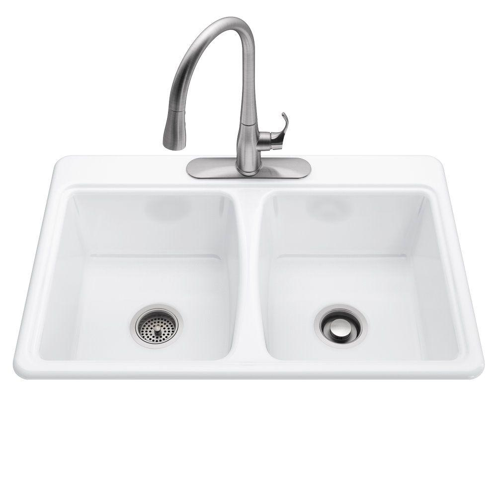 KOHLER All-in-One Deerfield Smart Divide Self-Rimming Cast Iron 33x22x9 3-Hole Kitchen Sink in White