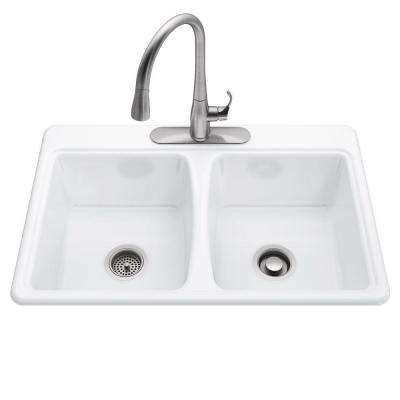 All-in-One Deerfield Smart Divide Self-Rimming Cast Iron 33x22x9 3-Hole Kitchen Sink in White