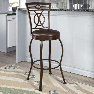 CorLiving Jericho 30 inch Metal Bar Stool with Swivel Dark Brown Bonded Leather Seat by CorLiving