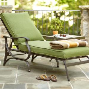 Hampton bay pembrey patio chaise lounge with moss cushion for Bay window chaise lounge