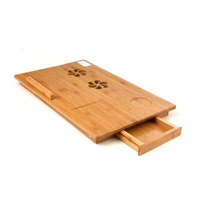 Bamboo Laptop Bed Tray with Drawer and Adjustable Top, Legs, Cooling Holes in Brown