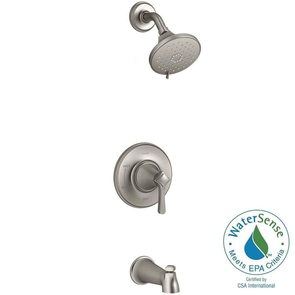KOHLER Georgeson Single Handle 3 Spray Tub And Shower Faucet In Vibrant  Brushed Nickel