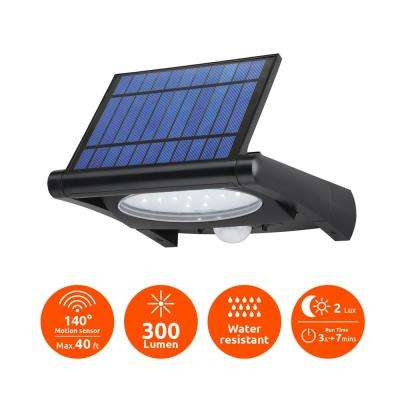 Super Bright Black 300-Lumen Motion Activated Outdoor LED 6500K Solar Powered Landscape Flood Light