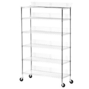 SafeRacks 72 In H X 48 In W X 18 In D NSF 6 Tier Wire Chrome Shelving Rack