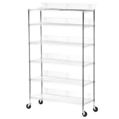 6-Shelf 72 in. H x 48 in. W x 18 in. D Rolling Steel Shelving Unit in Chrome