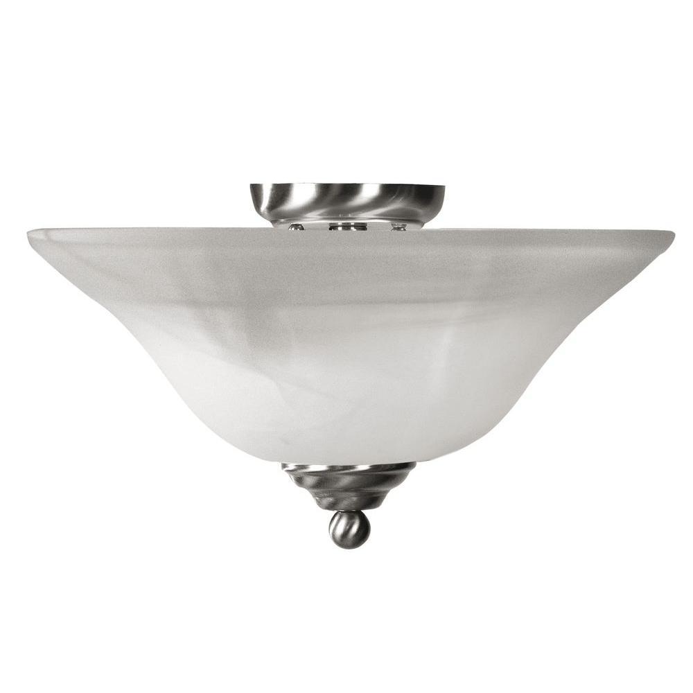 Livex Lighting Providence 3-Light 15.5 in. Brushed Nickel Finish White Alabaster Glass Flush Mount