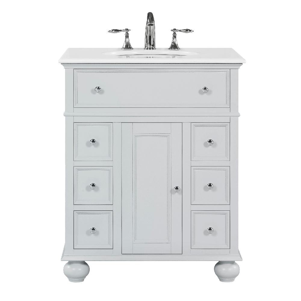Home Decorators Collection Hampton Harbor 28 in. W x 22 in. D in Dove Grey Bath Vanity with  Natural Marble Vanity Top in White with White Sink