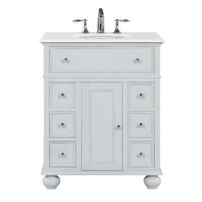 . Hampton Harbor 28 in  W x 22 in  D in Dove Grey Bath Vanity with Natural  Marble Vanity Top in White with White Sink