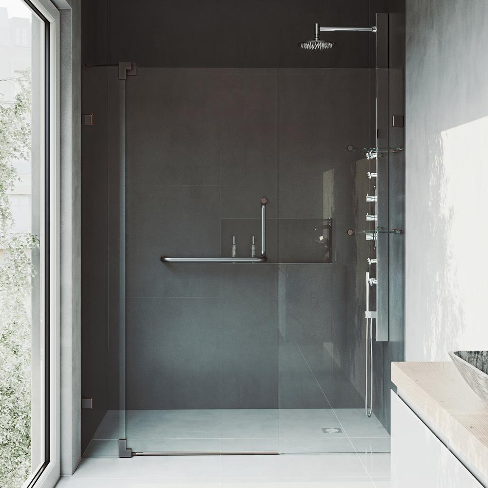 Vigo Pirouette 48 In X 72 In Frameless Pivot Shower Door With