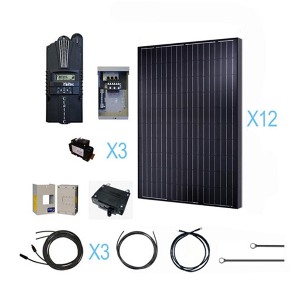 3000-Watt 48-Volt Monocrystalline Solar Cabin Kit for off...