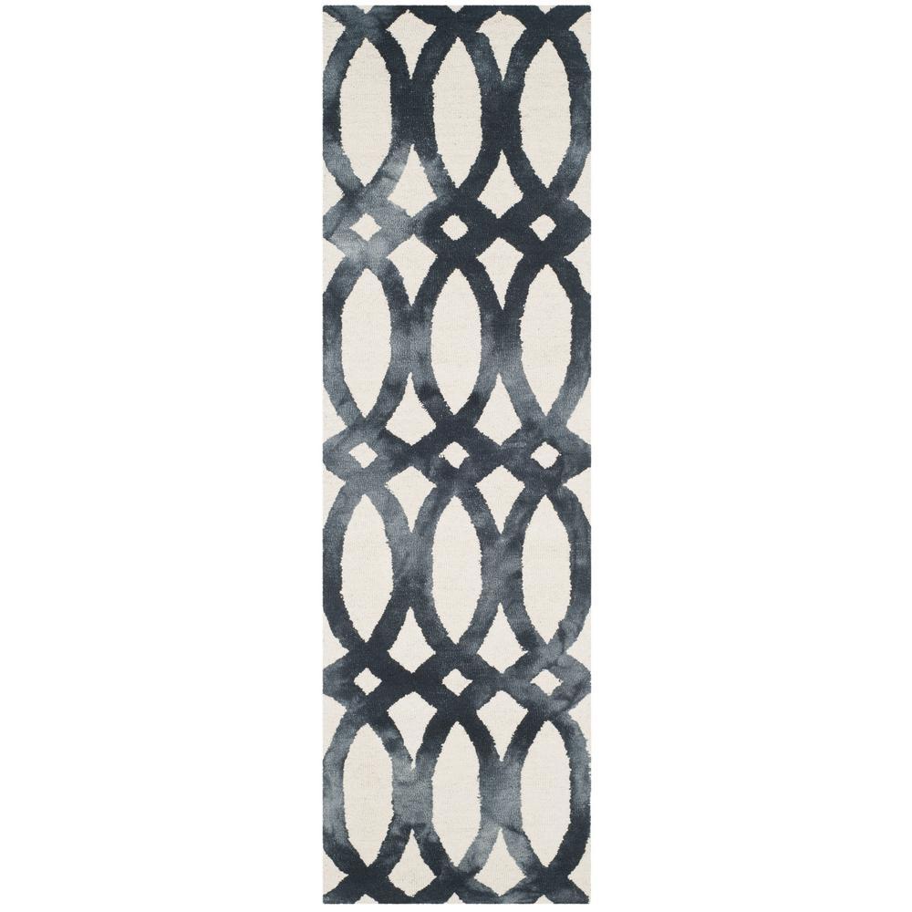 Dip Dye Ivory/Graphite 2 ft. x 10 ft. Runner Rug