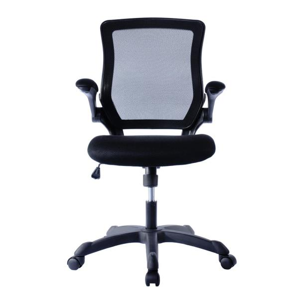 Techni Mobili Black Mesh Task Office Chair With Flip Up Arms Rta