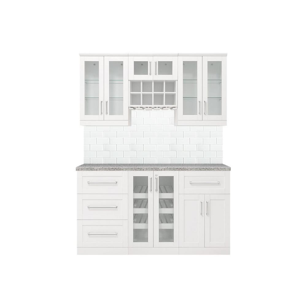 Home Bar White Cabinet Set (7-Piece)