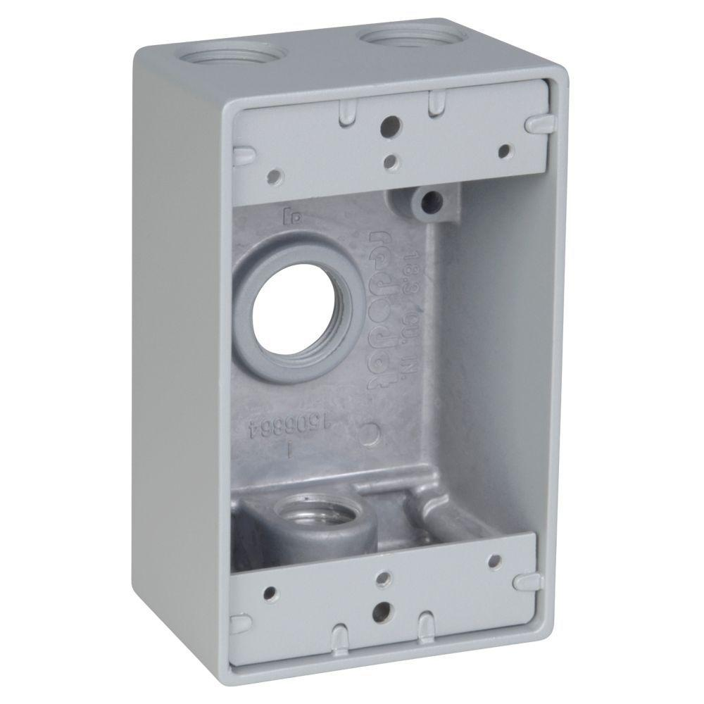 1-Gang Rectangular Electrical Box with 4 1/2 in. Holes -Silver (Case