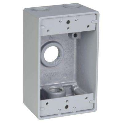 1-Gang Rectangular Weatherproof Electrical Box with 4 1/2 in. Holes -Silver (Case of 16)