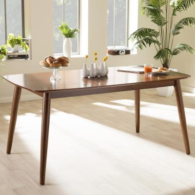 Flora Medium Brown Finished Wood Dining Table